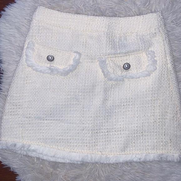 vintage tweed white crop top and skirt
